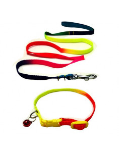 Pawzone Multi Colour Collar Leash Set With Bell