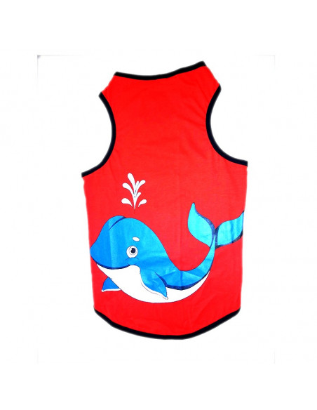Pawzone Red Whale T - Shirt For Dogs