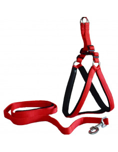 Pawzone Padded Adjustable Red Body Harness with Leash Set