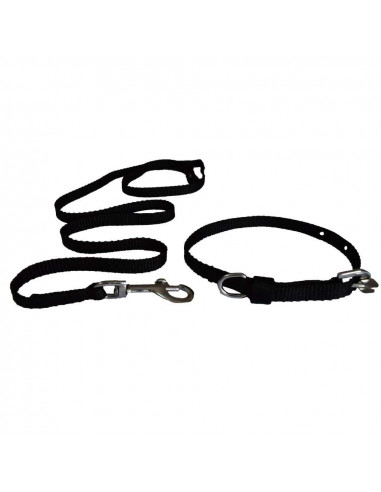 Pawzone Puppy Black Leash with Collar Set