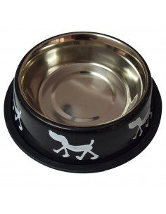 Pawzone Anti Skid Steel Dog Bowl(Orange)