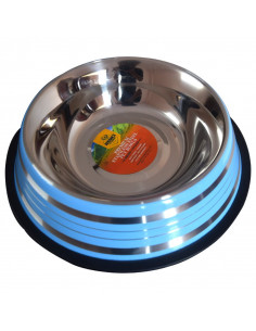 Pawzone Anti Skid Steel Dog Bowl(Blue)