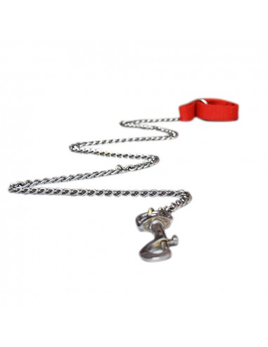 Pawzone Red Heavy Dog Silver Chain & Hook