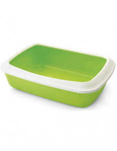 Savic Iriz Cat Litter Tray + Rim, Lemon Green, 17 inch