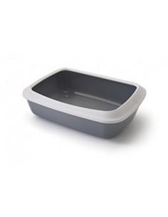 Savic Iriz Cat Litter Tray + Rim, Cold Grey, 17 inch
