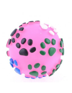 Pawzone Squeaky Ball With Paw Symbols Pink