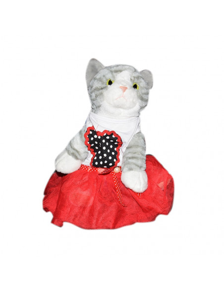 Pawzone Whit Frock With Red Heart