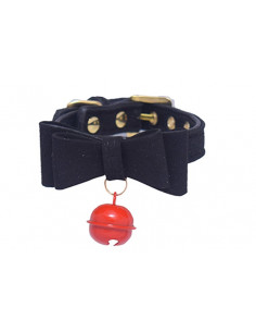 Pawzone Stylish Black Bell Collar XS