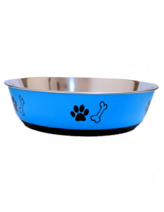 PAWZONE BLUE ANTI SKID STEEL DOG BOWL